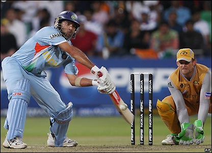 Yuvraj prepares to launch the ball
