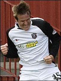 Allan Jenkins celebrates his goal at Fir Park