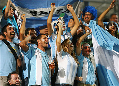 Argentina fans mass in the Stade Velodrome in Marseille