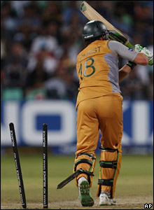Adam Gilchrist is bowled