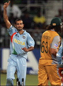 Irfan Pathan celebrates bowling Andrew Symonds