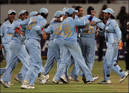 India celebrate after reaching the final