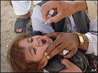 An Afghan child is administered polio drops in Helmand province