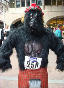Gorilla on the run. Copyright: Victoria MacGregor