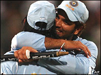 Dhoni and Yuvraj celebrate