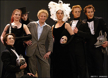 Marcel Marceau poses with his company during the rehearsal of Fantastic Tales in Madrid, June 2003