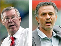 Sir Alex Ferguson (left) and former Chelsea boss Jose Mourinho