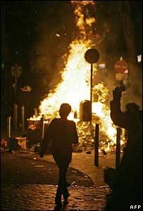 A burning barricade in Hamburg