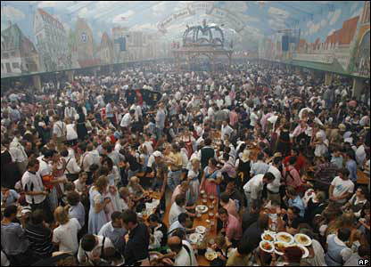 Crowds at Oktoberfest beer festival in Munich on 23 September 2007