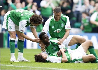 Hibernian v Celtic: Sheer joy for Hibs as Thierry Gatheussi puts the Edinburgh side  2-1 ahead before the interval