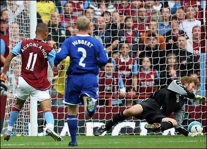 Agbonlahor beats Wessels with his shot