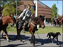 Tim Cope arrive in Opusztaszer with horses and dog
