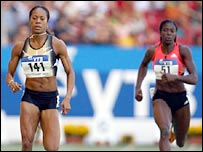 Sanya Richards (left) beat Briton Christine Ohuruogu into third in Stuttgart