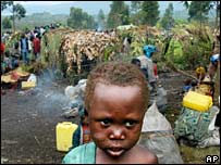 A child stands at a camp for internally displaced people in the eastern DR Congo. File photo
