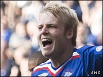 Steven Naismith celebrates his first goal for Rangers