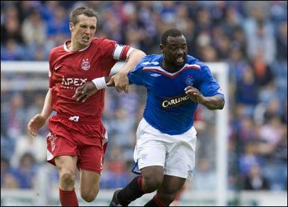 Rangers v Aberdeen: Aberdeen skipper Scott Severin struggles to contain Jean Claude 'The Rocket' Darcheville