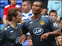 Marcus Bent with Wigan team-mate Kevin Kilbane