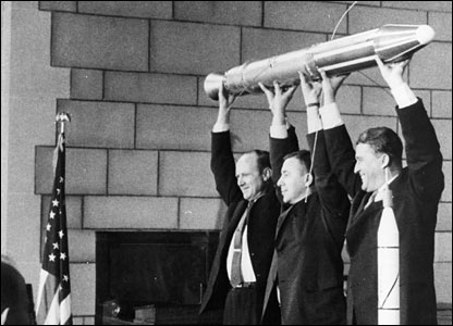 Pickering, Van Allen and Von Braun: the men behind the US Explorer 1 launch. Image: Nasa