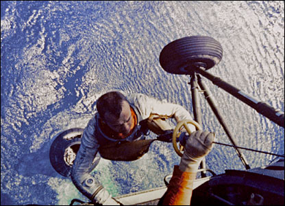 Alan Shepard hoisted aboard US Marine helicopter. Image: Nasa.