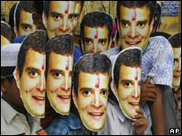 Children wear masks of Rahul Gandhi on his birthday