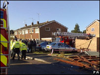 Fire crews clear up damage in Farnborough, Hants