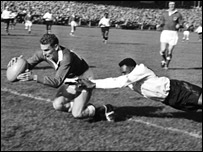 Dewi Bebb scores a try against Fiji at the Arms Park