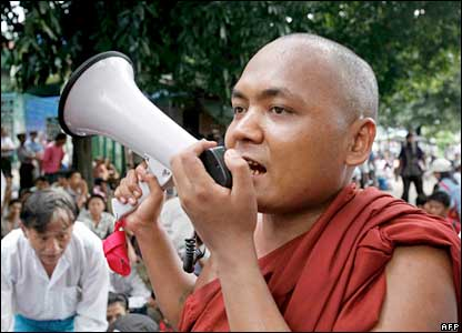A Buddhist monk speaks in Rangoon