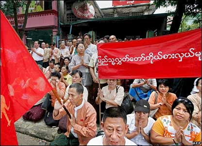 National League for Democracy (NLD) members take part in a protest