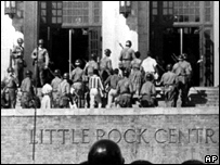 Troops escort the Little Rock Nine