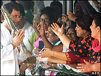 Rahul Gandhi greets supporters
