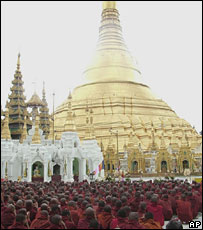 Buddhist monks pray at Shwedagon pagoda during a protest against the military government on Monday, Sept. 24, 2007