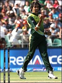 Umar Gul celebrates a wicket