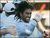 India skipper Mahendra Dhoni celebrates his team's triumph in Johannesburg
