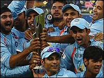 India celebrate victory in the World Twenty20 final