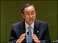 UN Secretary General Ban Ki-moon at UN climate change meeting - 24/09/2007