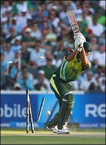 Pakistan's Sohail Tanvir is bowled