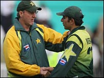 Pakistan coach Geoff Lawson and batsman Misbah-ul-Haq