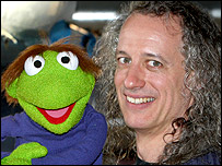Puppeteer Marty Robinson with muppet