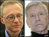 Israeli writers David Grossman and Amos Oz, who signed the petition