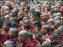 Buddhist monks protesting in Burma (24 September 2007)