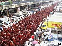 مظاهرات حاشدة على مدى تسعة أيام في رانجون