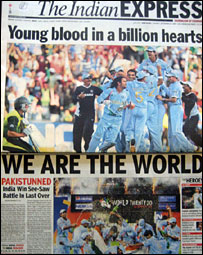 India newspaper headline on cricket win