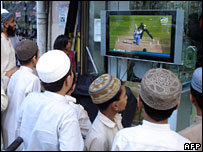 Pakistani fans watching the game