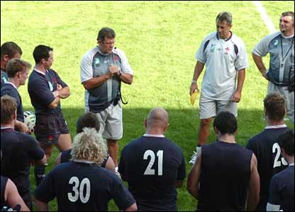 Wales coach Gareth Jenkins gathers his squad in St Nazaire