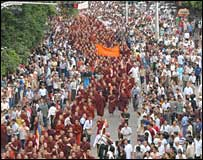 Buddhist monks protesting in Burma