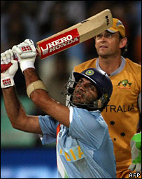 Yuvraj Singh of India hitting out against Australia