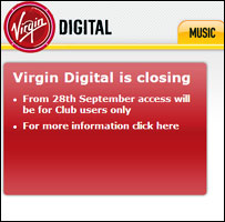 Announcement on Virgin Digital website