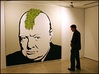 Banksy's portrait of former British Prime Minister Winston Churchill