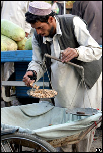 A man sells nuts in Afghanistan