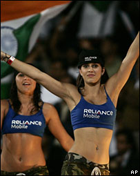 Cheerleaders at aTwenty20 match